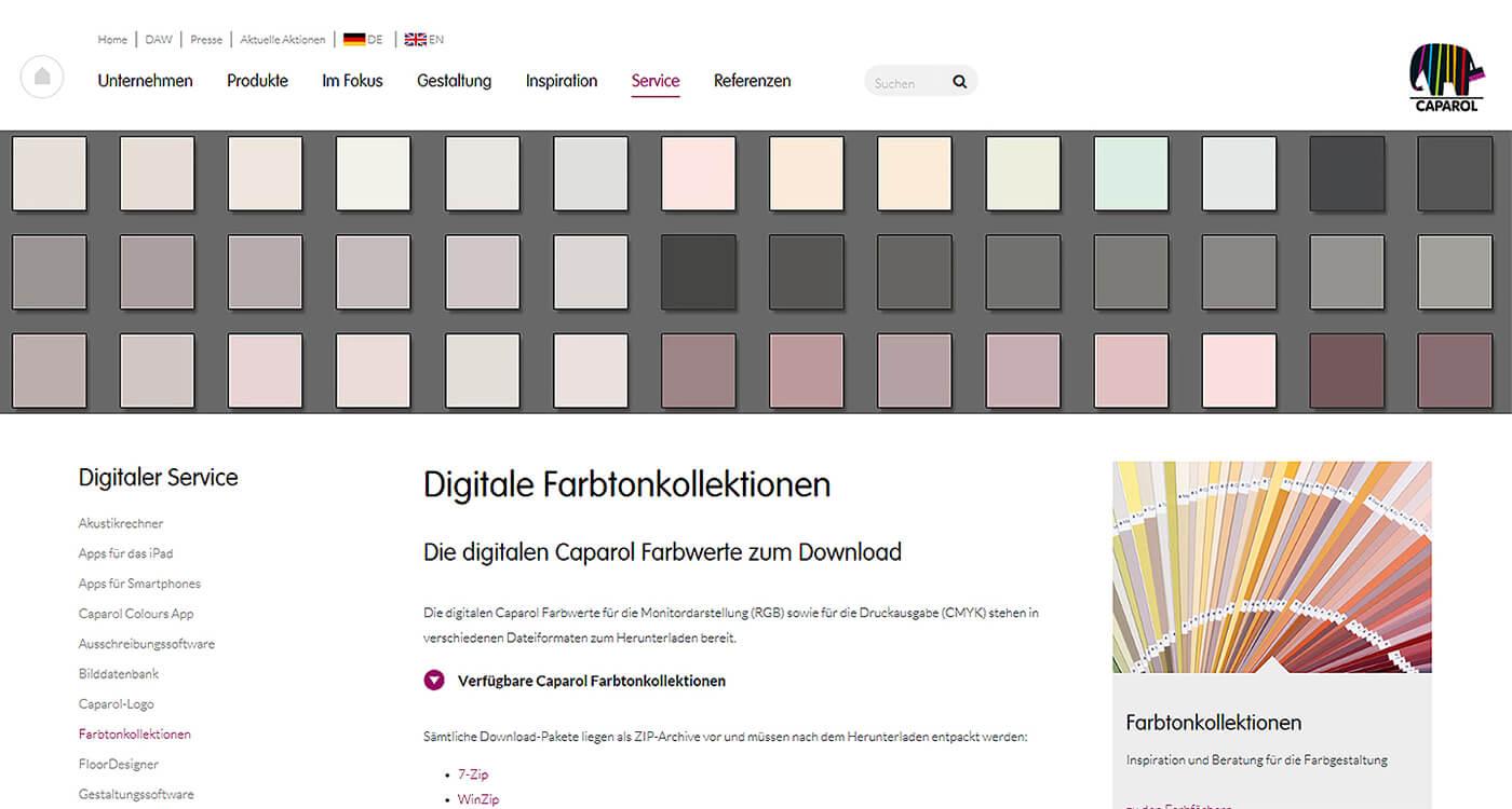Ein Farbton Zwei Medien Bildschirm Versus Ausdruck Caparol