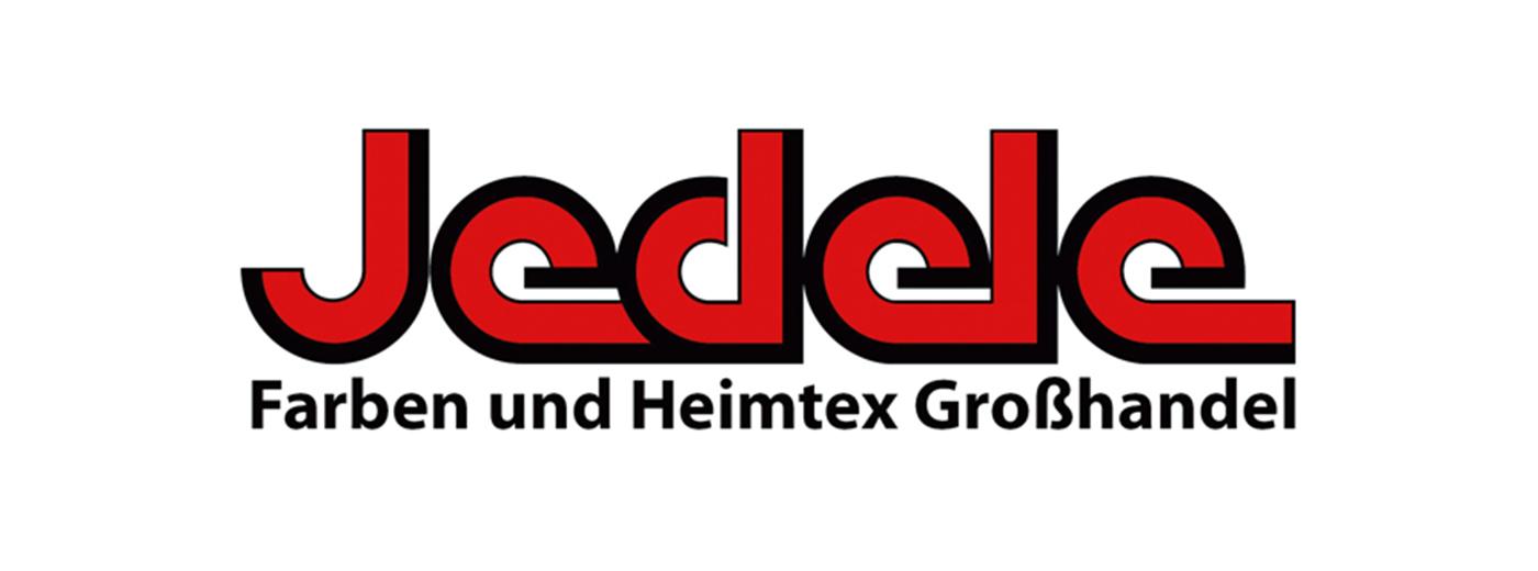 Logo Der Firma Jedele Rot Schwarzer Schriftzug Auf Weissem Grund